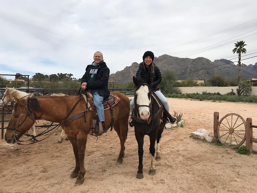 HORSEBACK RIDING, HUSBAND & WIFE, TUCSON, ARIZONA