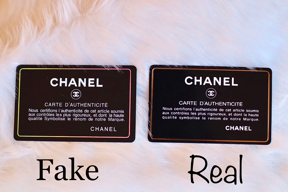 CHANEL, CHANEL AUTHENTICITY CARD, REAL VS. FAKE