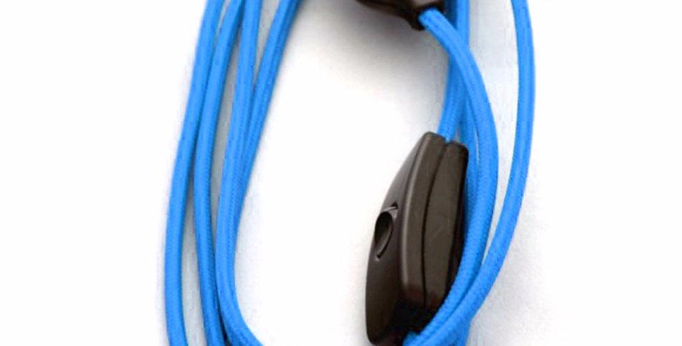 Cavo con interruttore e spina con Telato Colorato Azzurro