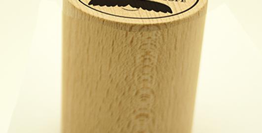 Timbro cilindrico con base in legno e gomma incisa al laser
