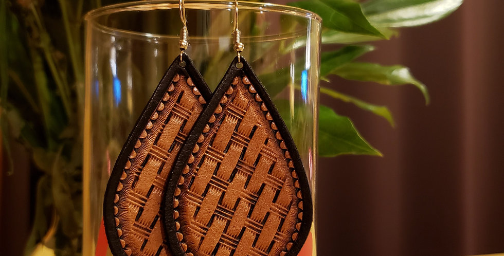 Rustic Tooled Leather Earrings