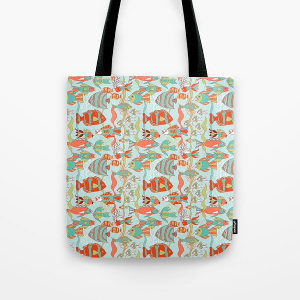 "Old O'ahu collection, ""Reef Rush Hour"" in Coral - Beach bag on Society6.com"