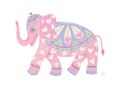 Sweetheart elephant - Colored pencil printo on Etsy.com
