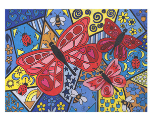 Three Red Butterflies - Colored pencil print on Etsy.com