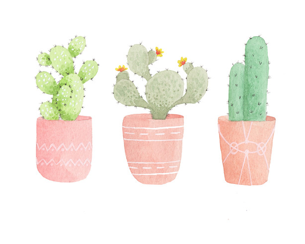 Pastel Cacti - Watercolor print on Etsy.com