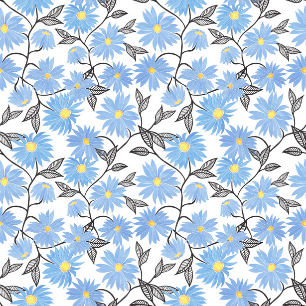 Blue Daisies -  Watercolor Surface Pattern Design on Spoonflower.com