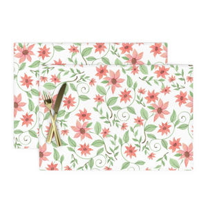 Salmon colored flowers/white as placemats -  Roostery.com