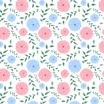 Pink and Blue Mums - Watercolor surface pattern design on Spoonflower.com