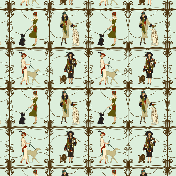 Deco Dogs and Dames Mint - Surface Pattern Design on Spoonflower.com