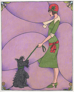 Deco dame and Scottie - Colored pencil print on Etsy.com