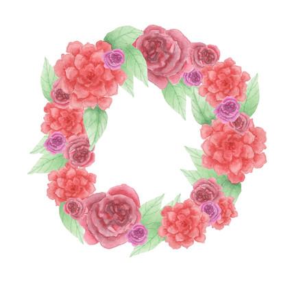 Rose Wreath - Watercolor print on Etsy.com