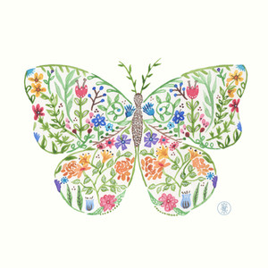 Flower Butterfly - Watercolor print on Etsy.com