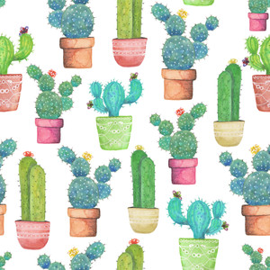 Bright Cacti repeat pattern on Spoonflower.com