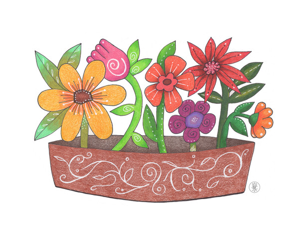 Flowers in Terra Cotta Pot - Colored pencil print on Etsy.com