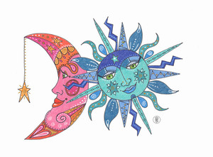 PInk Moon, Blue Sun - Colored Pencil print on  Etsy.com