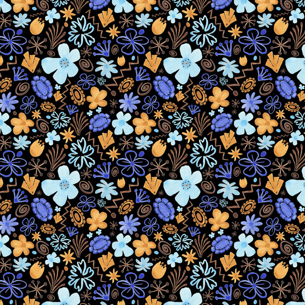 Danhong Flowers black  -  Spoonflower.com