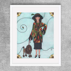 """""""Deco Dame and Poodle Dog"""" 8x10"""" -  Colored pencil print available on Etsy.com"""