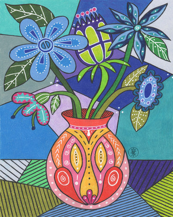 Folk Art Flowers - Colored pencil print on Etsy.com