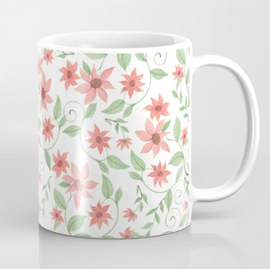 Salmon Colored Flowers White - Watercolor Surface pattern design on mug, available on Society 6.com