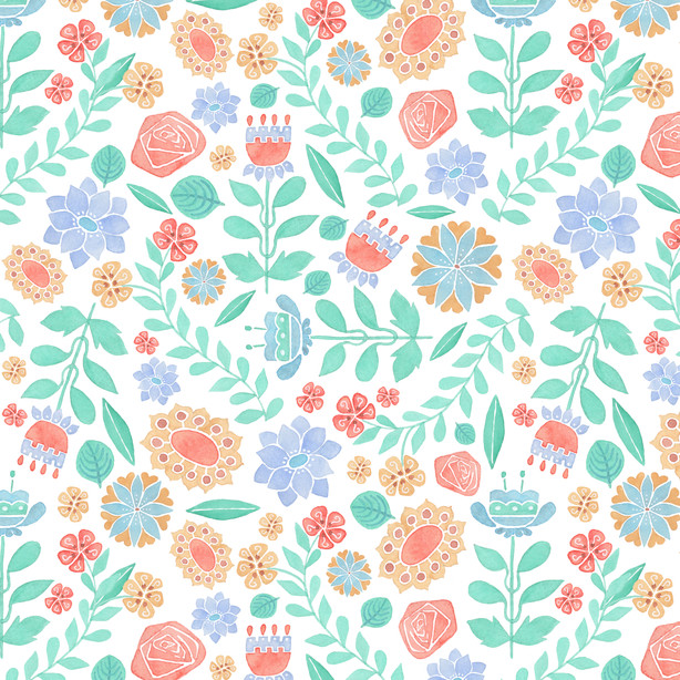 Jet Flowers - Watercolor, Surface pattern design on Spoonflower.com