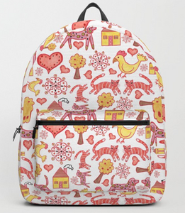 Red dog and cat folk art backpack - on Society6.com