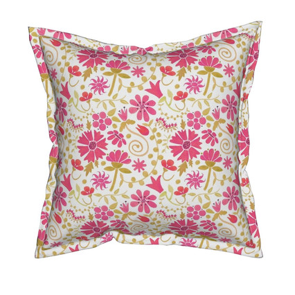 Wild Hot Pink Garden - Watercolor, Surface pattern design, pillow available on Roostery.com