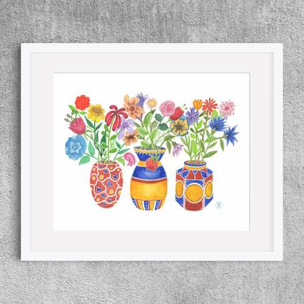 """Three Vases"" - Watercolor print, 8x10"" on Etsy.com"