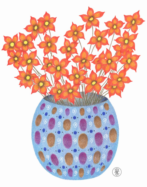 Orange Flowers in a Blue Vase - Colored Pencil print Etsy.com