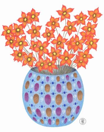 Orange Flowers in a Blue Vase - Colored Pencil print Etsy.com