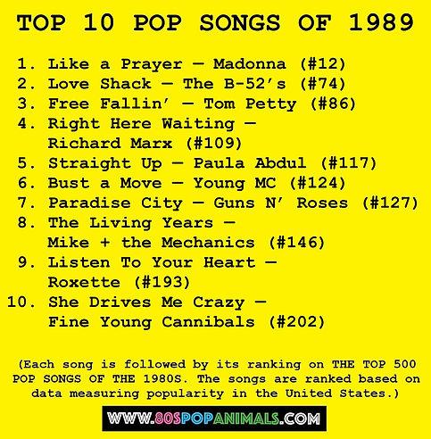 Top 10 Pop Songs of 1989