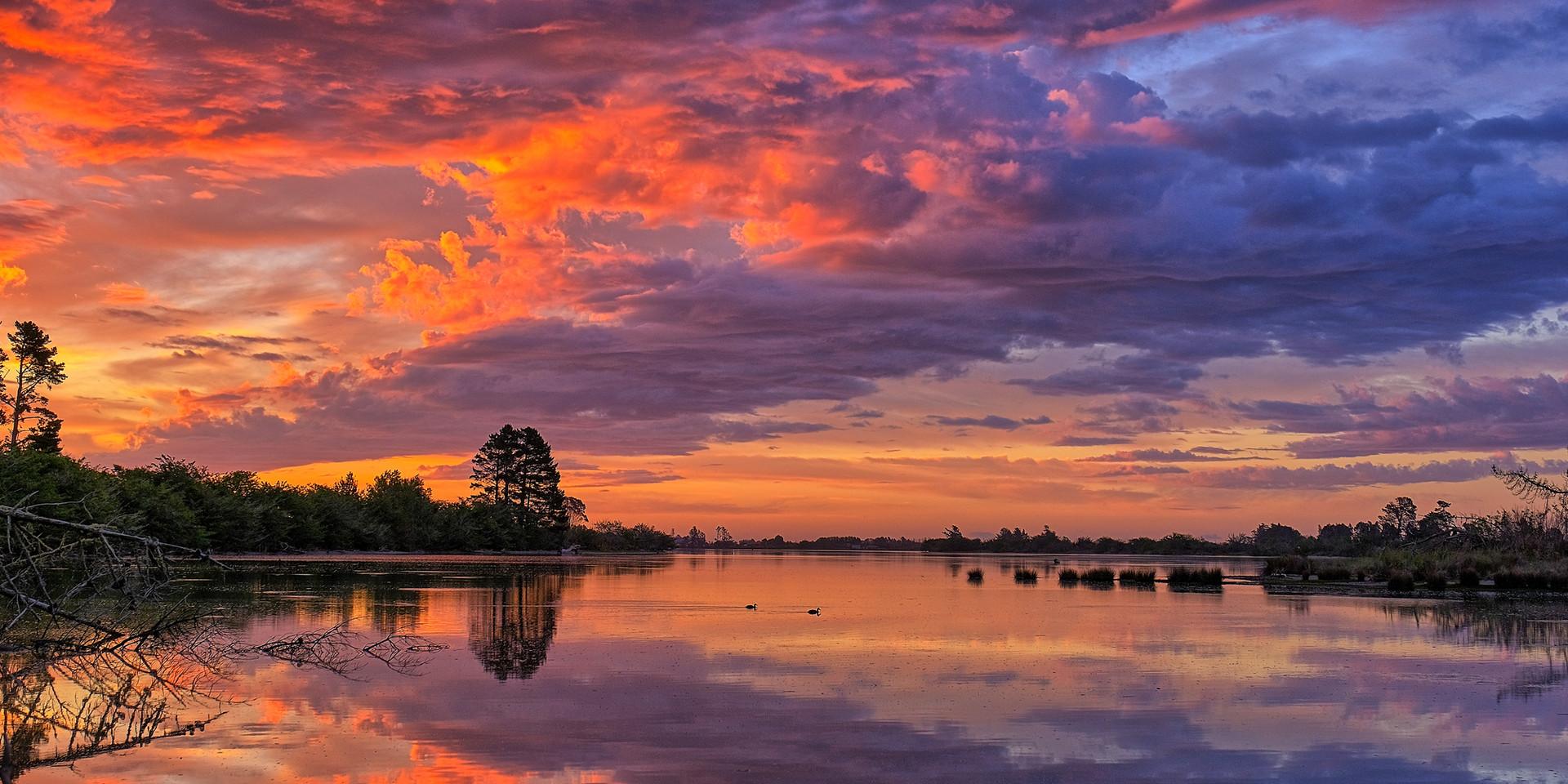 Sunset Orowaiti Lagoon