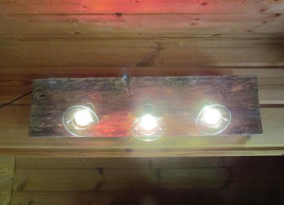 """wooden Halogen spotlight lamp ▸ on a Kelo-board """"dead"""" wood"""