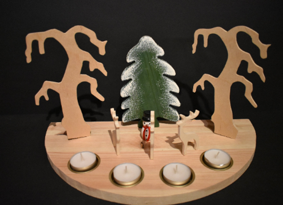 Nordic Christmas landscape - with reindeer 3 ▸ candle holder