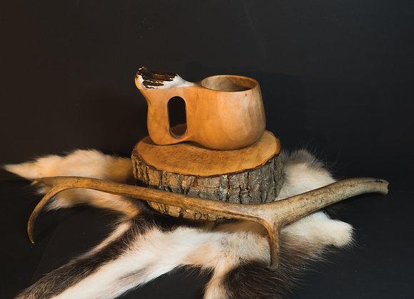 XL Kuksa with moose antler ▸ wooden jug - 300 ml/10 oz