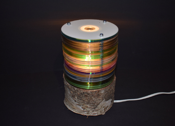CD / DVD wooden table lamp ▸ with LEDs and birch base