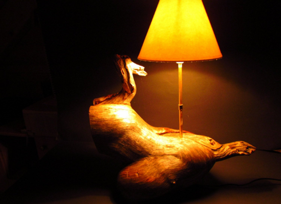 "rusty wooden table lamp ▸ made of Kelo ""dead"" wood"