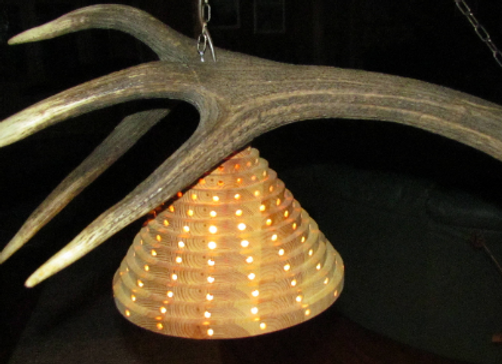 wooden rustic hunting lamp ▸ made with antler