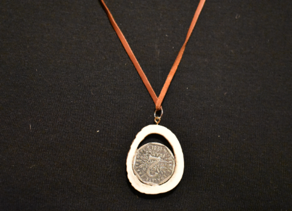 Necklace ▸ made of deer antlers - with Francs coin