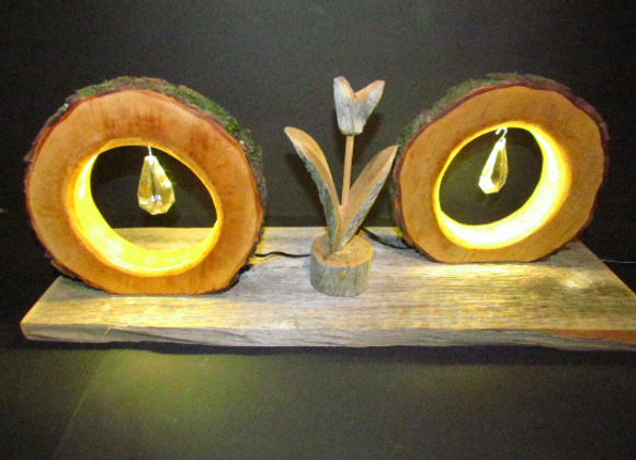 wooden tree-disc table lamps - with LED ▸ double pack