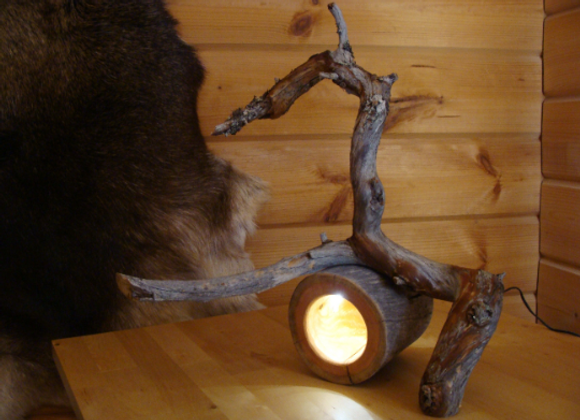 "wooden table lamp - with LED ▸ made of Kelo ""dead"" wood 2"