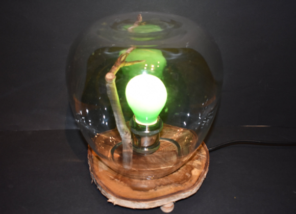 table lamp ▸ made with a glass ball and wooden base