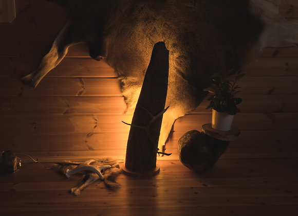 Wooden floor tree trunk lamp ▸ with LED and reindeer antler