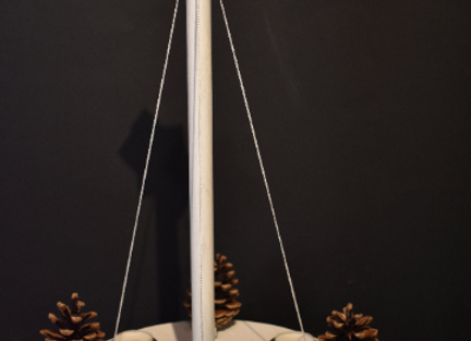 Hanging Advent wreath ▸ made of pine wood - white 2