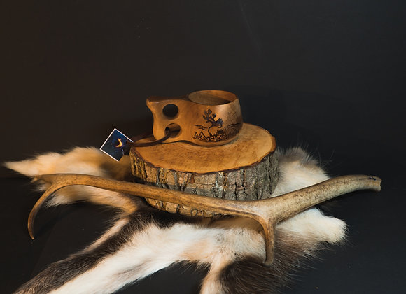 "Kuksa with animal picture ▸ ""Reindeer"" - 180 ml/6 oz"