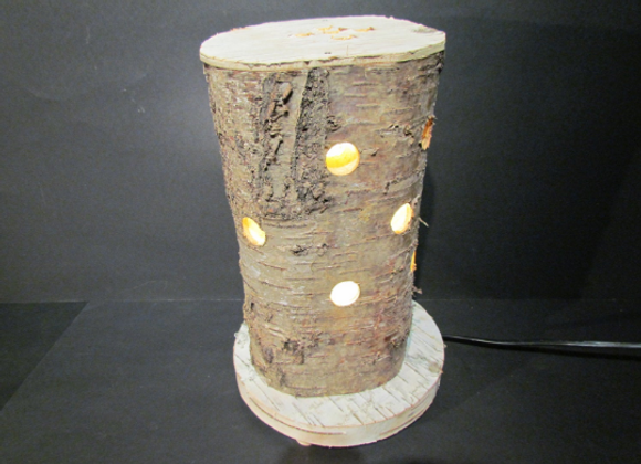 wooden table lamp ▸ made of birch trunk 2