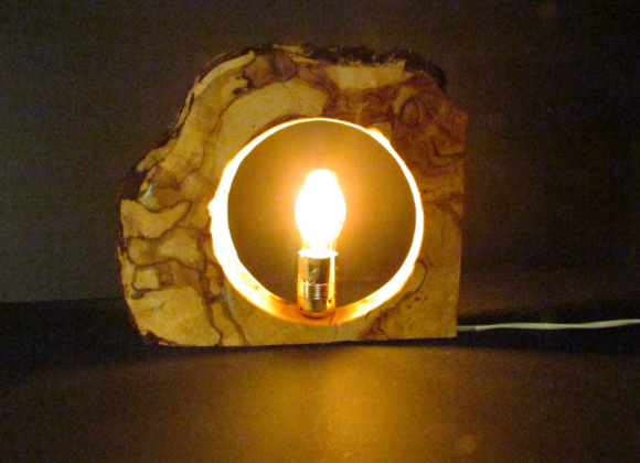 wooden table lamp - with LED ▸ made with finnish curly birch 4