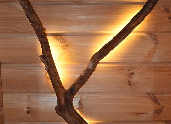 wooden birch root wood lamp ▸ with LED