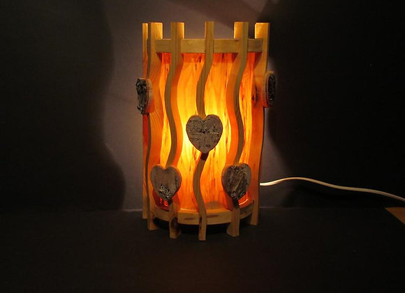 wooden wall lamp ▸ Scandinavian 6 with hearts