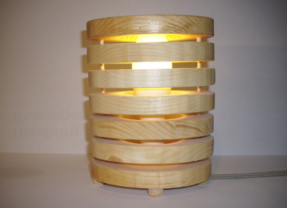 wooden oval table lamp ▸ made of pine wood