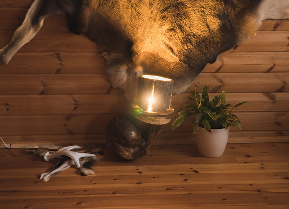 "Wooden floor lamp - with LED 2 ▸ made of Kelo ""dead"" wood"